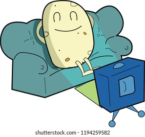 Sleepy, lazy couch potato, snoozing on a green sofa, in front of a retro television set.