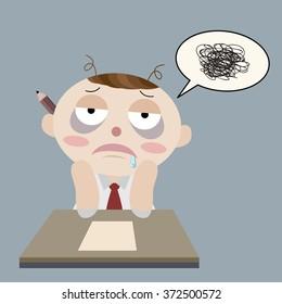 sleepy man cannot work cartoon vector