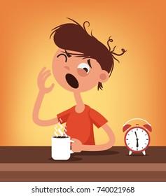 Sleepy man character wake up and drink coffee. Early  hard morning concept. Vector flat cartoon illustration