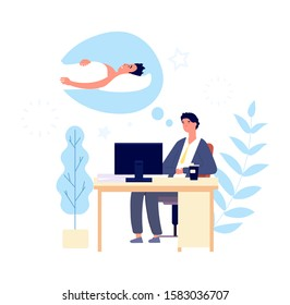 Sleepy man. Guy wishing sleep at office in morning. Tired adult sad person desirous rest. Cartoon vector manager at work character