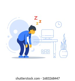 Sleepy man, sleep deprived, boring work, tired with tasks, lack of energy, feeling weak, vector flat illustration