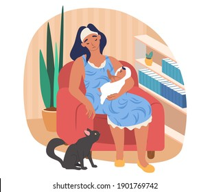 Sleepy mom holding her baby while sitting in armchair, flat vector illustration. Tired, exhausted mother with her newborn baby and cat pet.