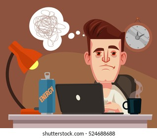 Sleepy office worker man character. Vector flat cartoon illustration