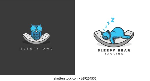 Sleepy Owl and Bear Mattress Logo Design / Bundle contains two different designs/ Works on dark and light!