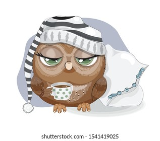 Sleepy owl with cup of coffee, tries not to sleep. Picture in hand drawing cartoon style, for t-shirt print, wear fashion design, greeting card, party invitation