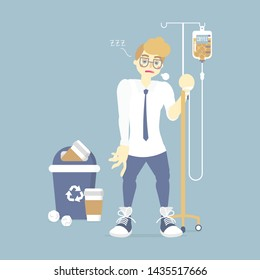 sleepy, tired businessman holding IV (intravenous) stand with coffee infusion drip bag and recycle bin, coffee addict, health care concept, vector illustration cartoon flat character design