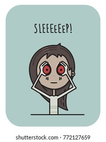 Sleepy and tired girl, doodle vector illustration, Cartoon style. The girl struggles with sleep. Monday awful mood.