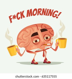 Sleepy tired office worker brain character drink coffee and smoke cigarette. Monday morning. Vector flat cartoon illustration
