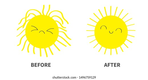 Sleepy Wake up sun shining icon set. Before After. Kawaii face with different emotions. Cute cartoon funny sad happy baby character. Hello summer. White background. Flat design. Vector