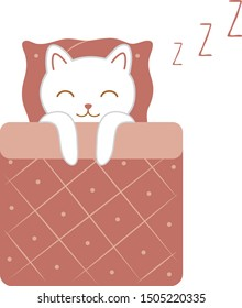 Sleepy white cat in bed. Kawaii element. Hygge kitty. Cute cartoon animal. Drawing for sticker, catalog, poster, cartoon, game, banner. Vector illustration