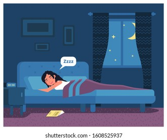 Sleepy woman having sweet dreams in bed with mattress, pillow, blanket at night. Person with closed eyes. Book on floor. Bedroom interior. Bedtime and darkness. Vector flat cartoon illustration