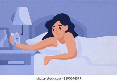 Sleepy woman lying on bed and looking at alarm clock at night. Female insomniac trying to fall asleep. Problem of insomnia, sleeplessness, sleep disorder. Vector illustration in flat cartoon style.