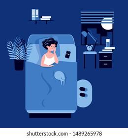 Sleepy woman trying to fall asleep. Stress, depression, disorder, headache, nightmares. Tired face. Circadian and biological rhythms disturbance. Sleeplessness concept. Flat vector illustration.