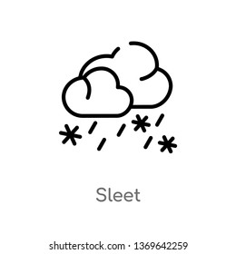 sleet vector line icon. Simple element illustration. sleet outline icon from weather concept. Can be used for web and mobile