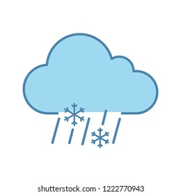 Sleet weather color icon. Wet snow. Mixed snow and rain. Weather forecast. Isolated vector illustration