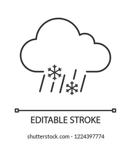 Sleet weather linear icon. Wet snow. Thin line illustration. Mixed snow and rain. Weather forecast. Contour symbol. Vector isolated outline drawing. Editable stroke