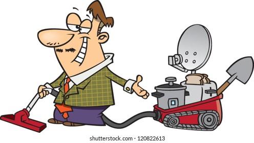 sleezy cartoon five in one vacuum salesman