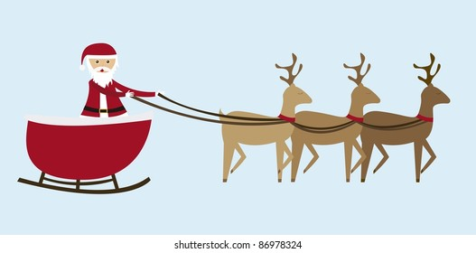 sleigh cartoon  isolated over blue background. vector