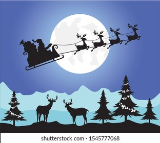 Santa's sleigh, Christmas tree and reindeer , illustration of santa driving his sleigh with the moon as the background. beautiful christmas scene. light blue black and purple colours