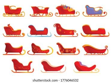 Sleigh icons set. Cartoon set of sleigh vector icons for web design