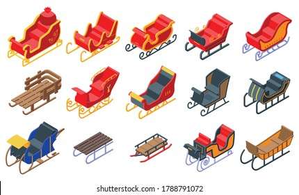 Sleigh icons set. Isometric set of sleigh vector icons for web design isolated on white background
