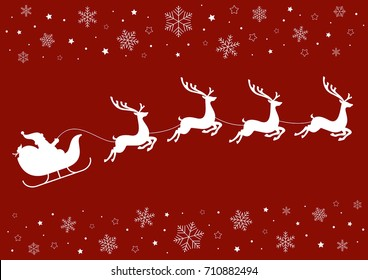 Santa's sleigh pulled by reindeer on a red background with snowflakes and stars
