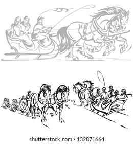 Sleigh ride: Brush-drawing based scenes of  a horse - drawn sleigh ride.