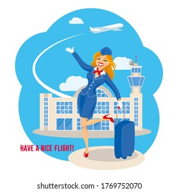 A slender beautiful blonde stands with a suitcase in front of the airport and points to the sky at a take-off plane