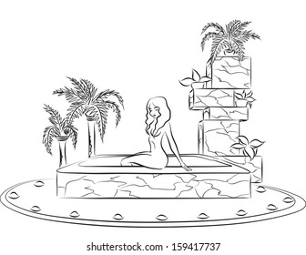 Slender beautiful woman sitting at border of pool in luxurious spa salon. Vector image