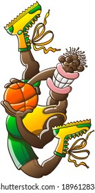 Slender black basketball player wearing yellow tank and boots and green shorts while performing an acrobatic high jump, grinning, posing and holding firmly a ball