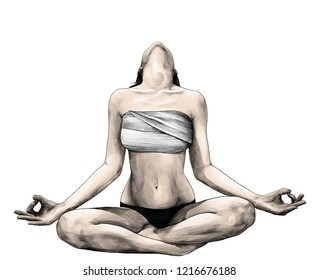 slender girl sitting in Lotus position with her head thrown back so you can not see her face in panties and chest wrapped with cloth, sketch vector graphic color illustration on white background