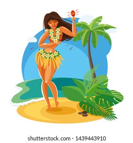 slender Hawaiian girl with long dark hair with a wreath of mango flowers dancing on the beach against the backdrop of the sea and palm trees