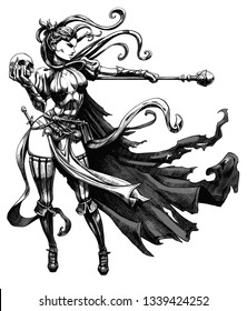 Slender sorceress with a staff