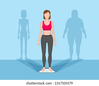 Slender woman on weights. Silhouettes of fat woman and thin woman as shadows. Sport and healthy figure concept