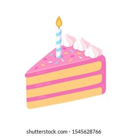 Slice of birthday cake with candle, pink frosting and sprinkles. Happy Birthday greeting card design element. Cartoon style isolated vector clip art illustration.
