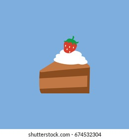 slice of cake isolated flat design style & strawberry cartoon with whipped cream on the top. tasty dessert in vector menu restaurant or piece of birthday Chocolate cake icon. celebrate & celebration