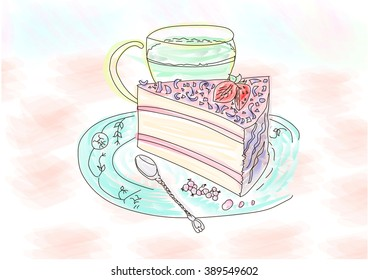 slice cake on plate with cup tea watercolor drawing