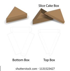 slice cake or sandwich box  mockup with dieline