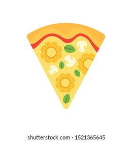 Slice cheese pizza icon. Flat illustration of slice cheese pizza vector icon for web design