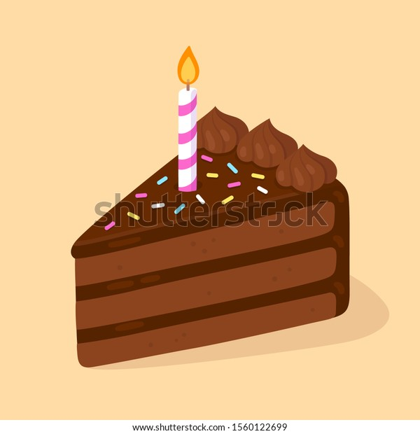 Astonishing Slice Chocolate Birthday Cake Candle Happy Stock Vector Royalty Funny Birthday Cards Online Necthendildamsfinfo