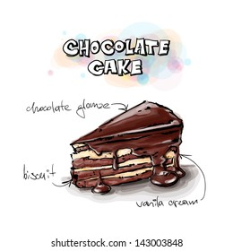 Slice of chocolate cake. Sketch + watercolor style. Vector illustration.