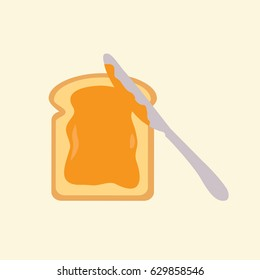Slice of clean & simple bread flat design style. toast with a tasty sweet honey illustration or peanut butter isolated. Knife & spreading slice of bread vector modern