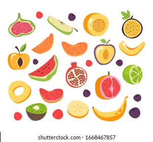 Slice cut fruit isolated set collection. Vector flat graphic design cartoon illustration
