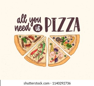 Slice of delicious classical pizza and All You Need Is Pizza slogan handwritten with calligraphic font on light background. Tasty meal of Italian cuisine. Hand drawn colorful vector illustration