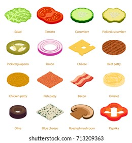 Slice food icons set. Isometric illustration of 16 slice food vector icons for web