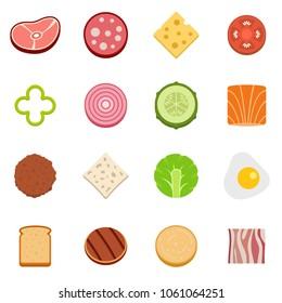 Slice food ingredient icons set. Flat illustration of 16 slice food ingredient vector icons isolated on white background