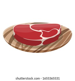 Slice of fresh meat on a wooden plate. Meat pulp, filet, hemoglobin. Illustration on a white background.