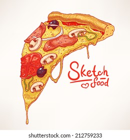 a slice of hand-drawn appetizing pizza - 2