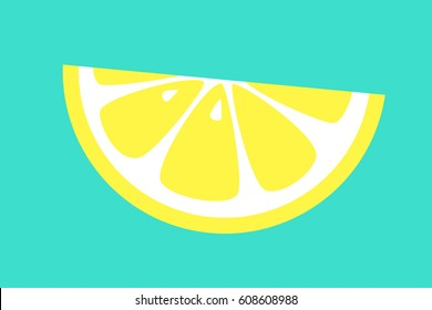 Slice of lemon on blue background. Vector illustration.
