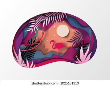Slice of paper, origami, tropical landscape. Sun, silhouette of nature flamingo, vector